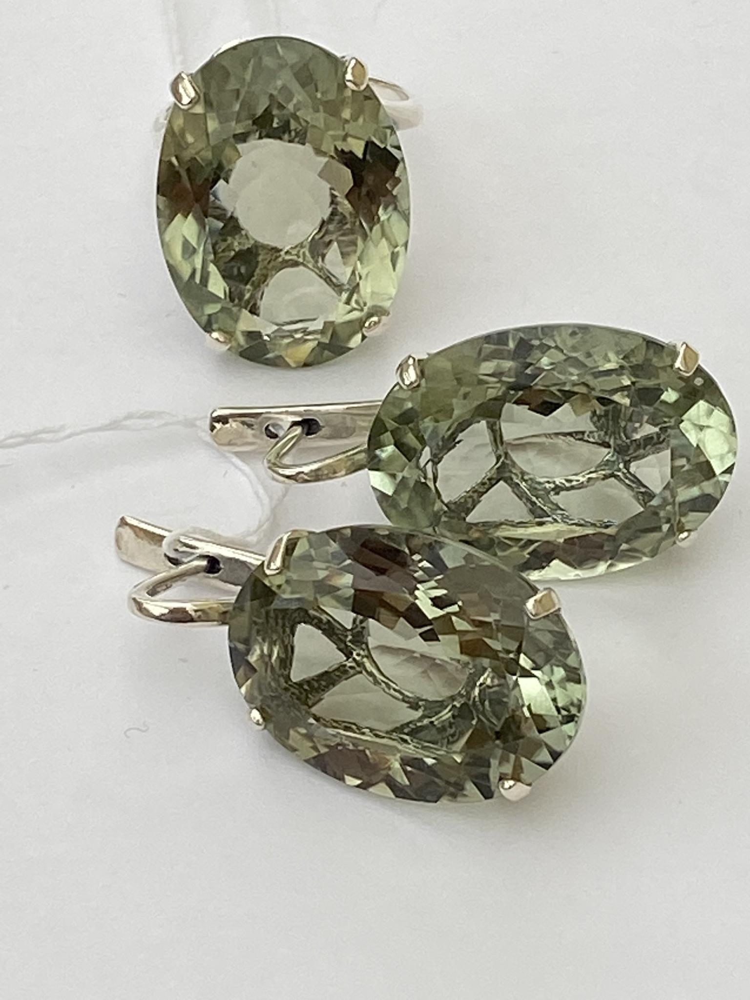 Озеро-празиолит  (кольцо + серьги из серебра)