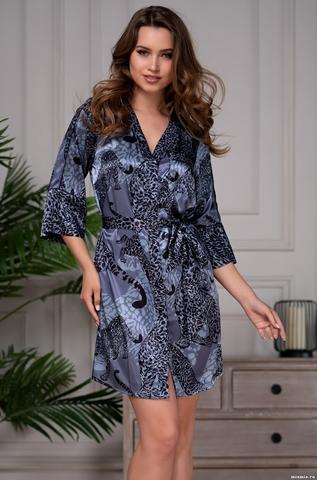 Рубашка халат шелковый Mia-Amore AMAZONKA АМАЗОНКА 8667 синий