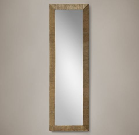 Cast Ribbed Metal Frame Leaner Mirror