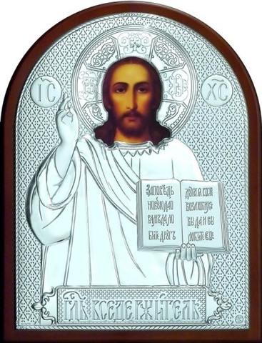 Серебряная икона Иисуса Христа Спасителя 16х12см