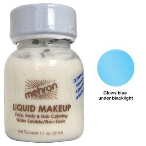 MEHRON Светящийся в ультрафиолете жидкий грим Liquid Makeup, Fluorescent (Black Light) Blue