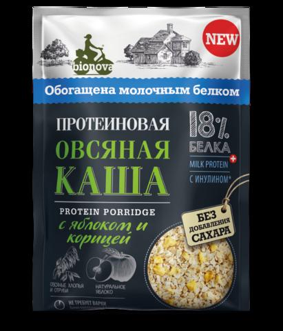 Протеиновая овсяная каша Bionova с яблоком и корицей, 40 г