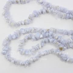 Бусина Агат Голубой, крошка, 3-9 мм, нить