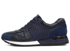 Кроссовки Мужские Louis Vuitton Run Away Blue Black Python Embossed