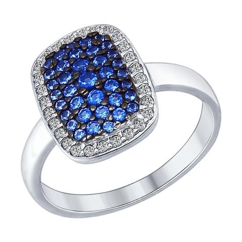 Кольцо из серебра с синими фианитами арт.94012186