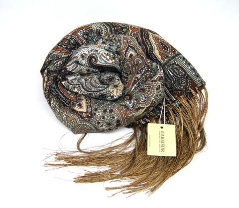 Шарф коричневых оттенков в Русском стиле