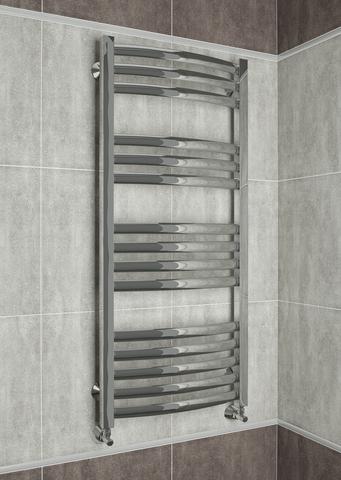 Palermo  - водяной дизайн полотенцесушитель с выгнутыми вперед горизонталями.