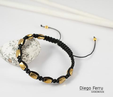Браслет шамбала из золотистого гематита, ручная работа. «Diego Ferru»