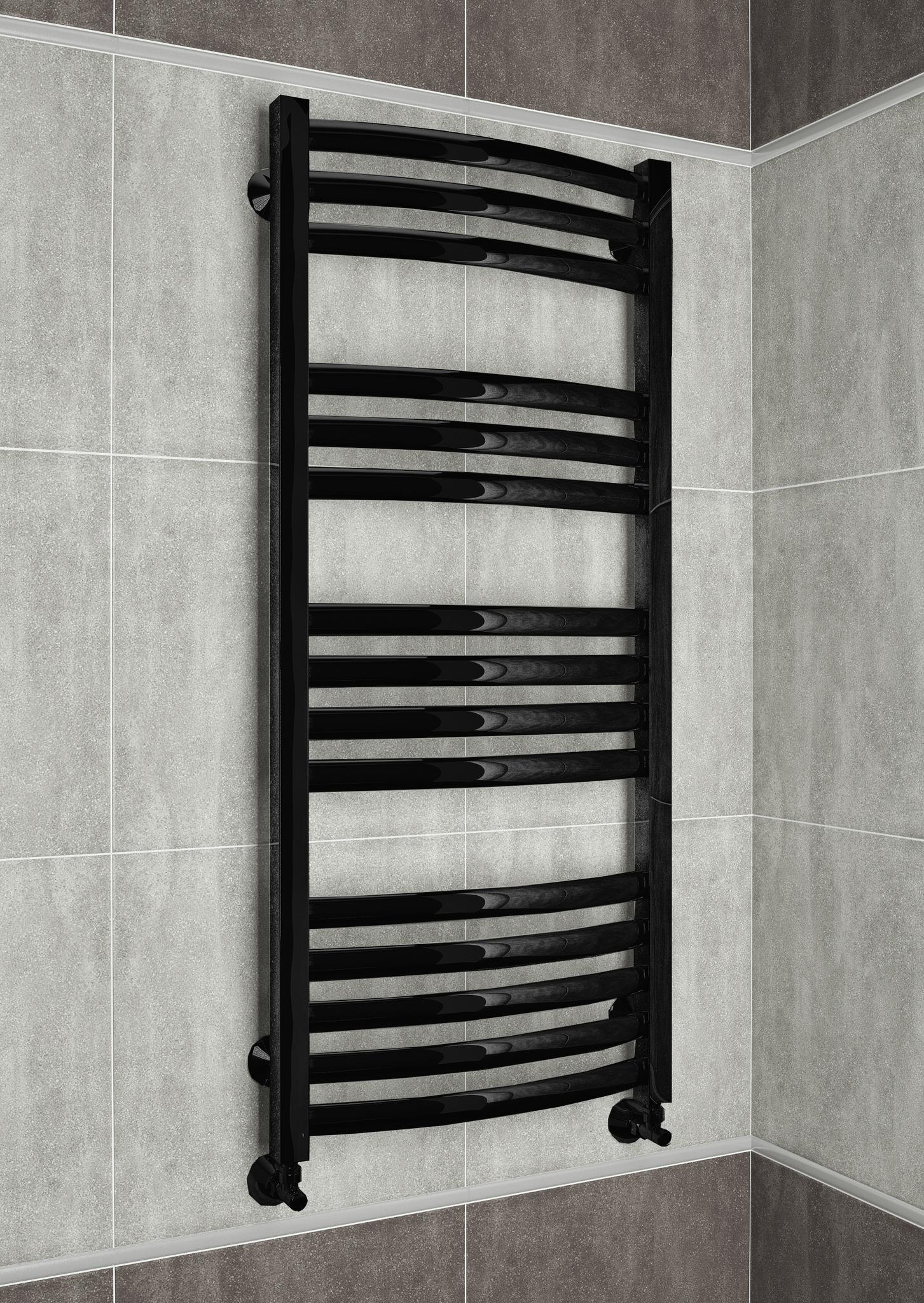 Palermo  - водяной дизайн полотенцесушитель черного цвета.