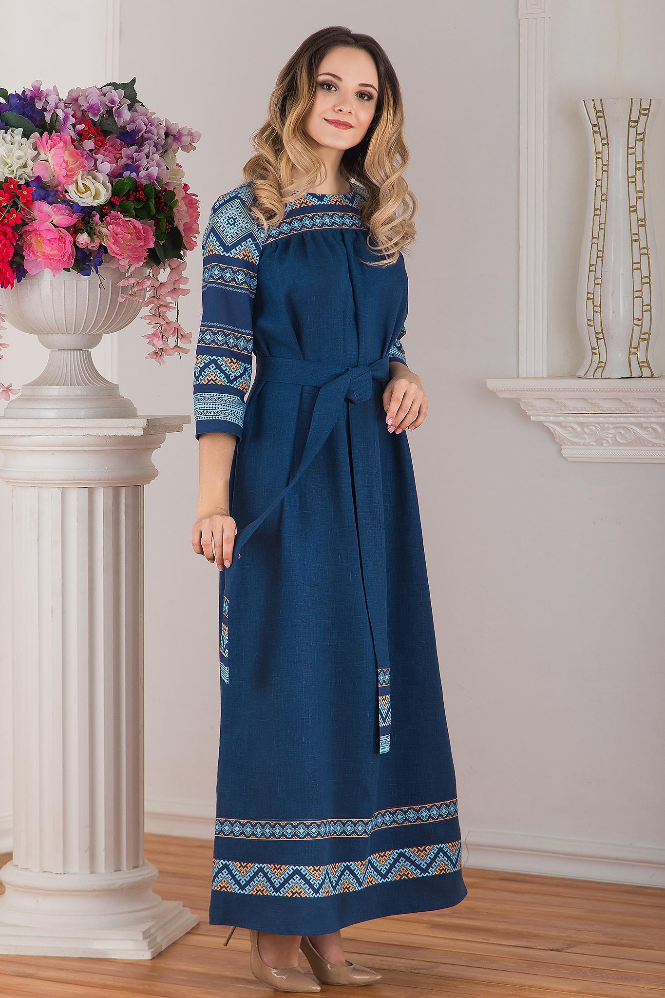 платье Каспийское льняное в пол