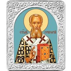Святой Григорий. Маленькая икона в серебряной раме.