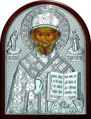 Серебряная икона святителя Николая Чудотворца (Угодника) 16х12см