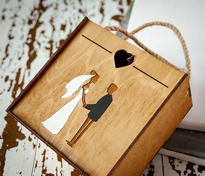 BOX238-2 Деревянная коробка для подарка на свадьбу (17*17*10 см) фото 03