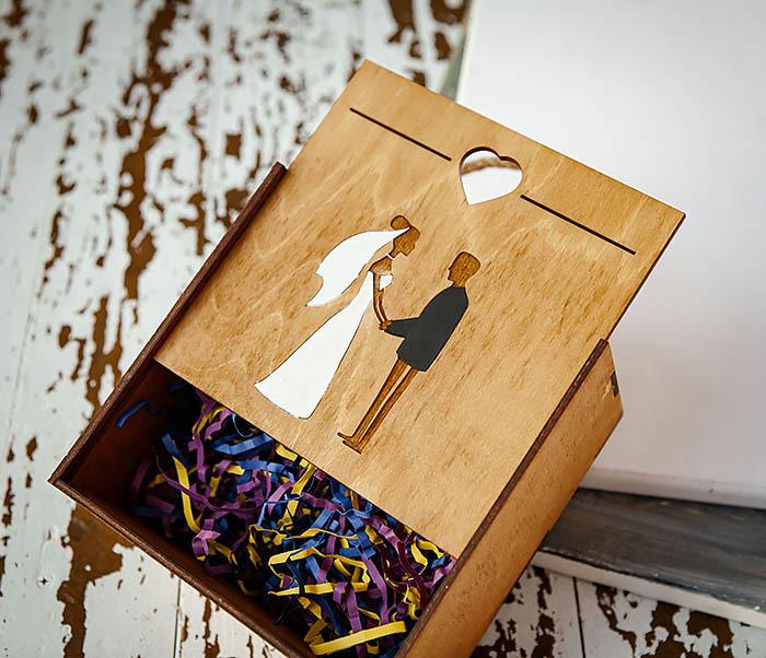BOX238-2 Деревянная коробка для подарка на свадьбу (17*17*10 см) фото 04