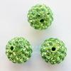 Бусина для шамбалы с фианитами, цвет - светло-зеленый, 10 мм