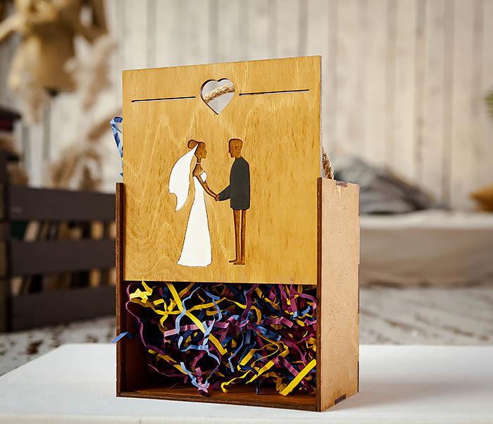 BOX238-2 Деревянная коробка для подарка на свадьбу (17*17*10 см) фото 05