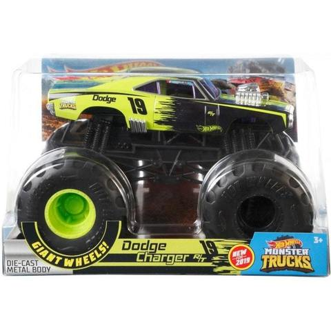 HOT WHEELS MONSTER TRUCKS 1:24 GIANT WHEELS DODGE CHARGER R/T 2019 GREEN