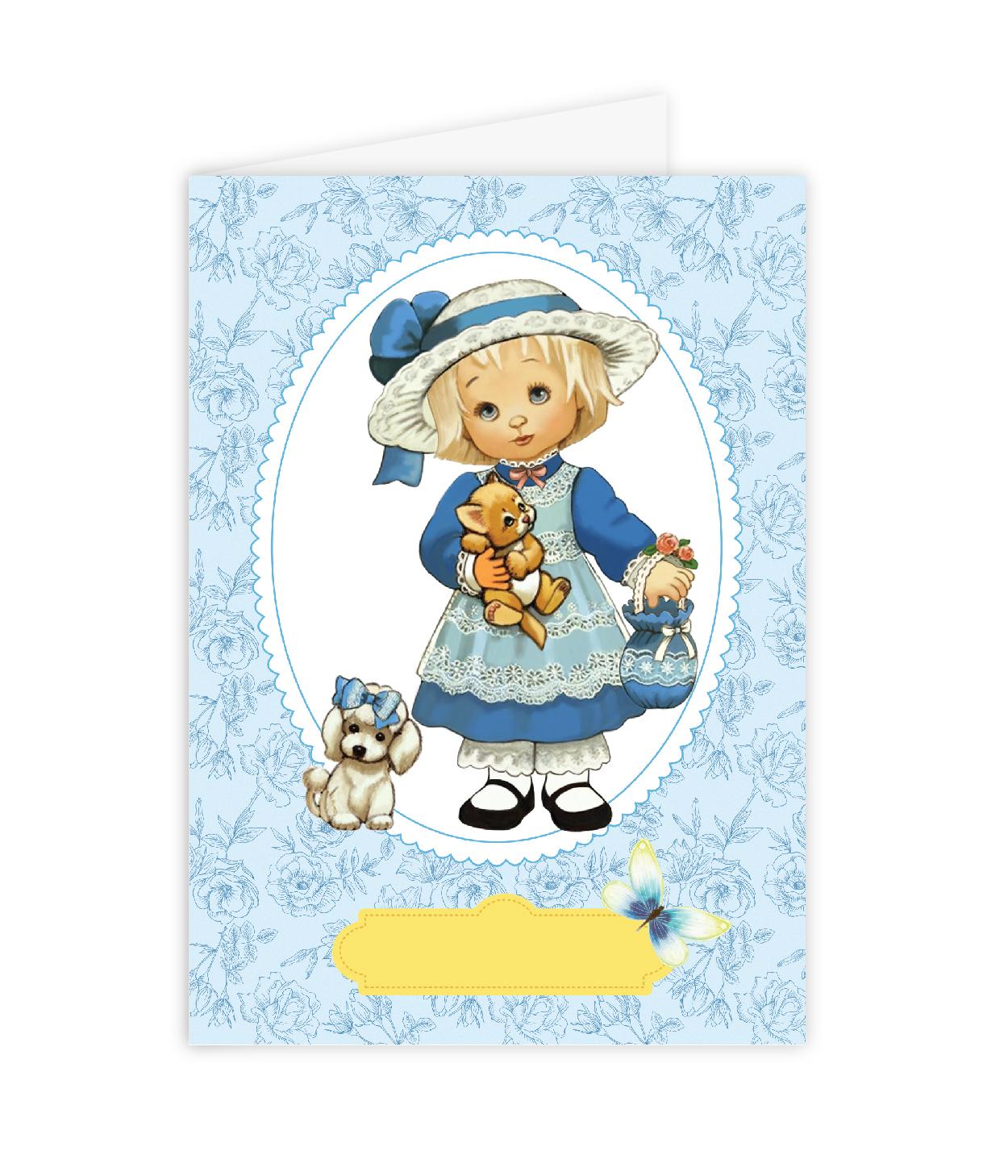 Открытка–папертоль Девочка с собачкой – главное фото сюжета.