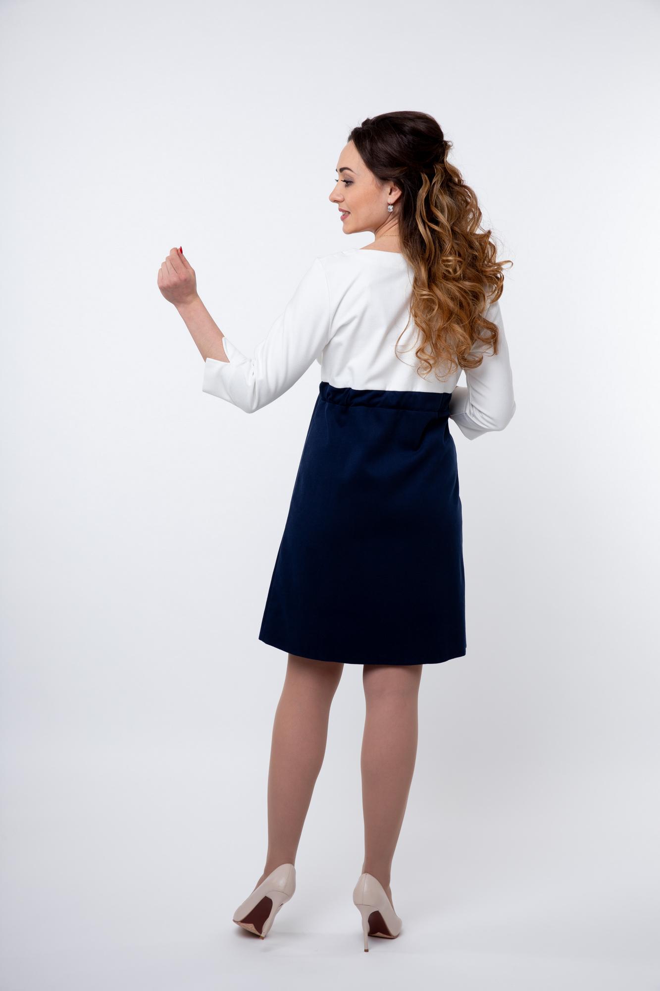 Платье 05709 белый-синий