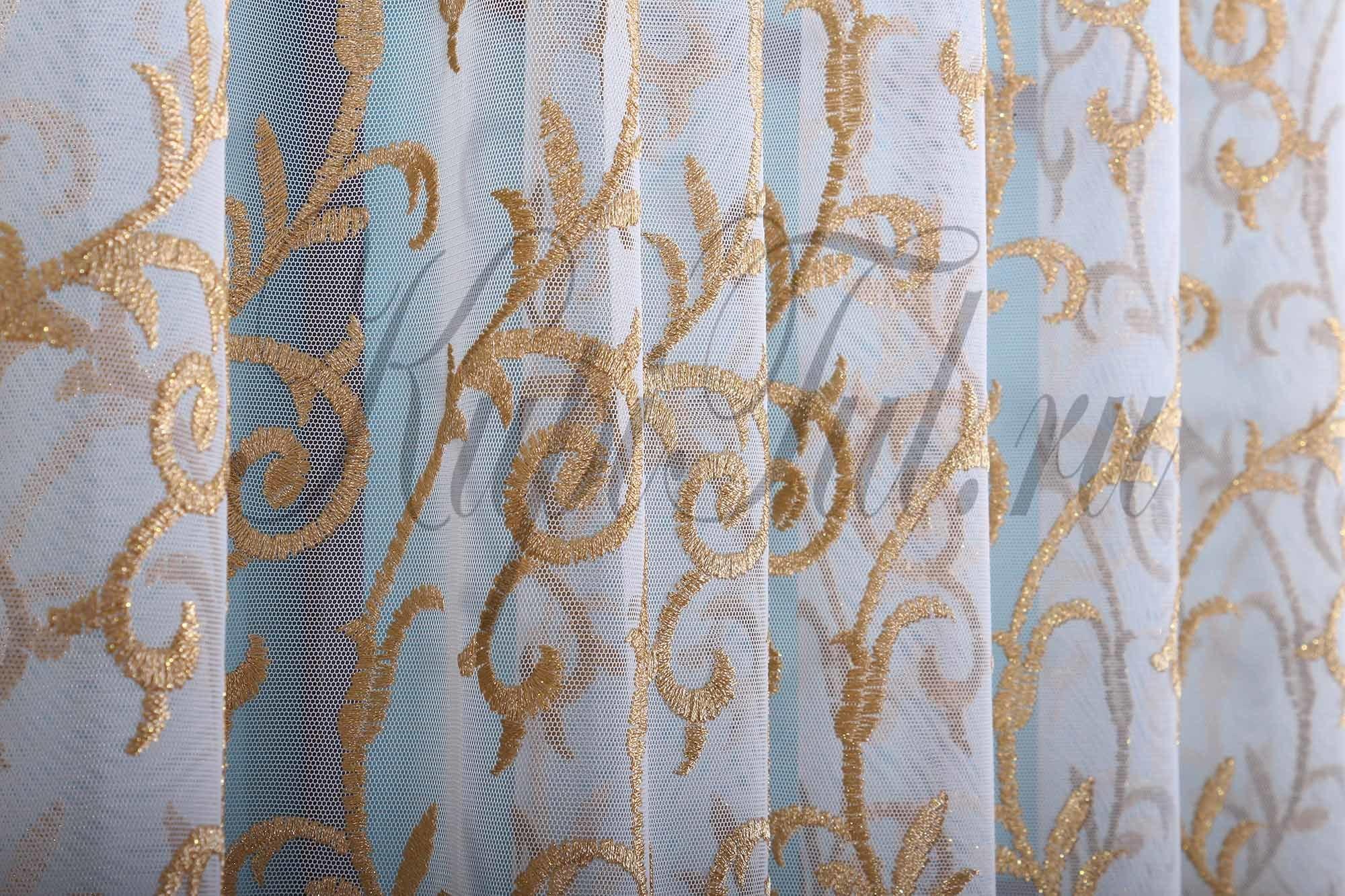 Французская сетка с вышивкой Веточка (золото)