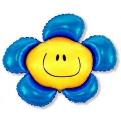 Фольгированный воздушный шар Солнечная улыбка. Синяя.