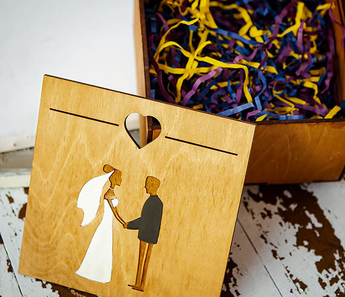 BOX238-2 Деревянная коробка для подарка на свадьбу (17*17*10 см) фото 07