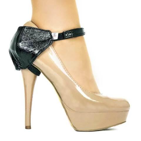 Автопятка для женской обуви на каблуке черный лак