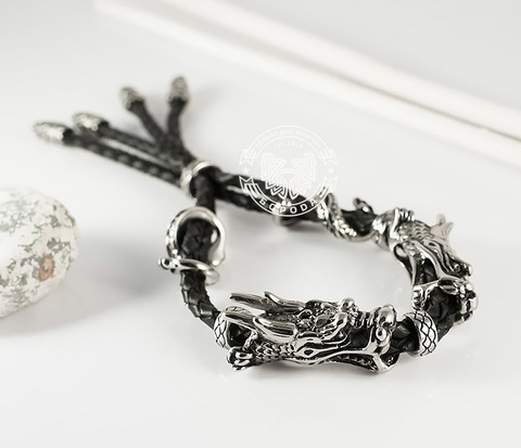BM366 Необычный мужской браслет &#34Драконы&#34 из стали и кожи
