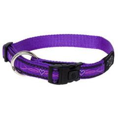 Rogz ошейник нейлон Medium ширина 1,6 см обхват шеи 26-40 см, фиолетовый/стразы