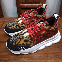 Versace Red Leopard Chain Reaction Trainers (008)