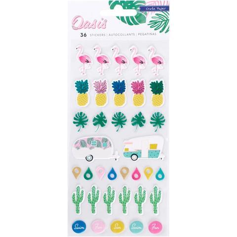 Объемные стикеры  Puffy Stickers -коллекция Oasis от Crate Paper -36шт.