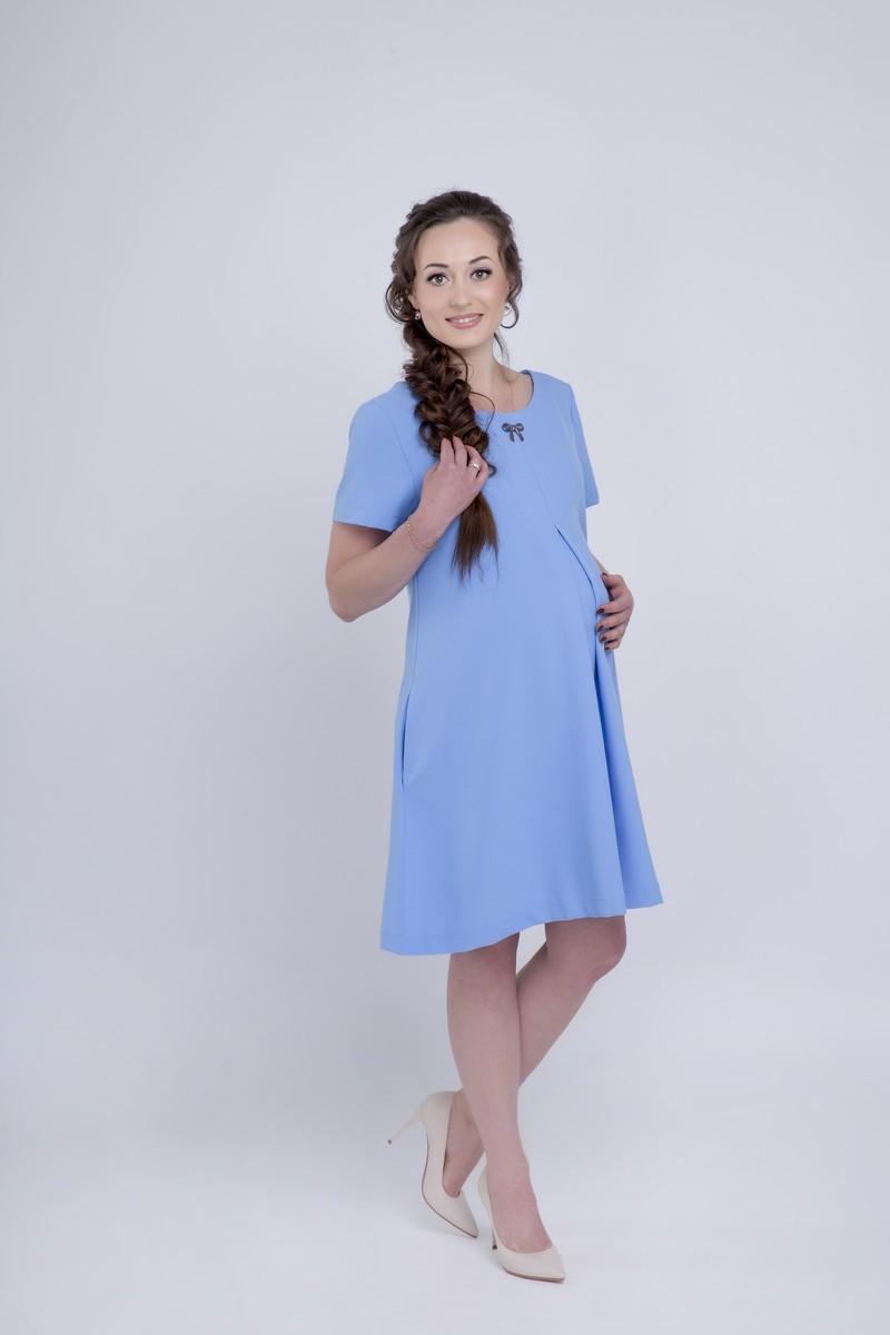 Платье для беременных 06149 светло-голубой