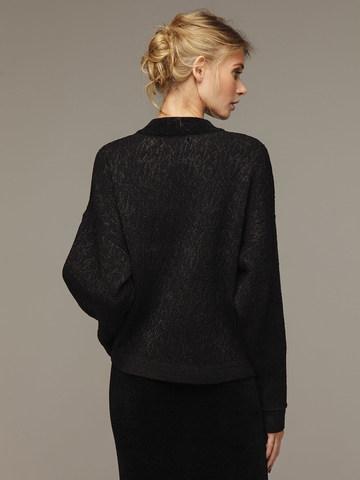 Женский черный шерстяной жакет на молнии - фото 3