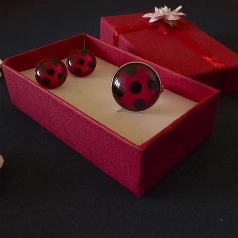 Набор: серьги и кольцо Леди Баг