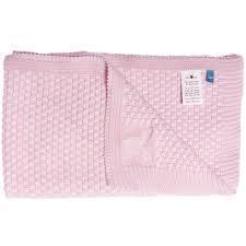 Плед вязаный, Wallaboo, 70х90см, хлопок органический, нежно-розовый