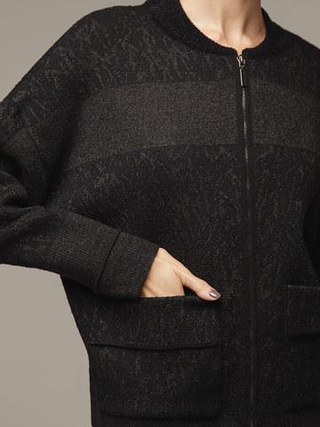 Женский черный шерстяной жакет на молнии - фото 2