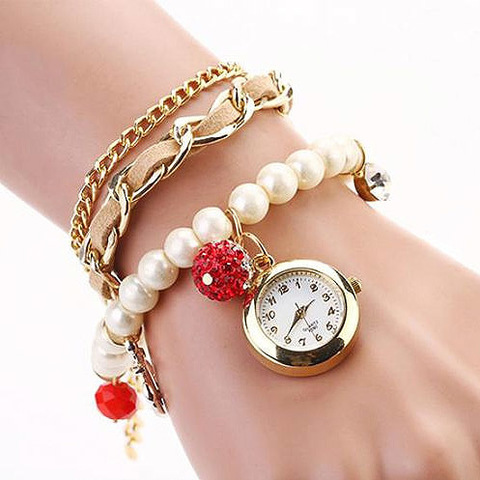 Часы-браслет с жемчугом (бежевый)