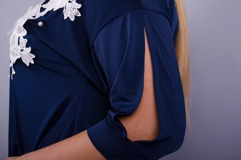 Ланвин. Нарядная блуза больших размеров.  Синий.