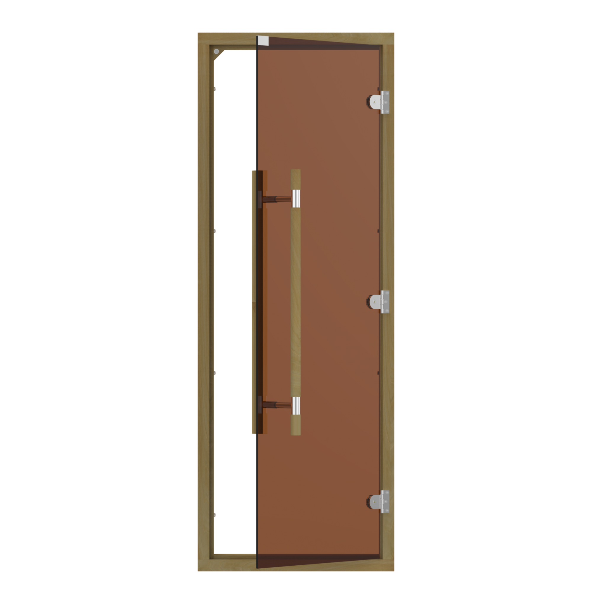 Двери: Дверь SAWO 741-4SGD 7/19 (бронза с порогом, кедр, прямая ручка металлической вставкой)
