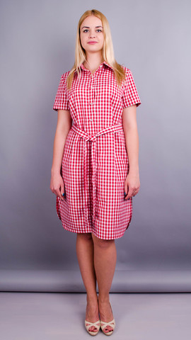 Ірина. Стильна сукня-сорочка великих розмірів. Клітинка червона.