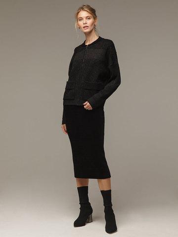 Женский черный шерстяной жакет на молнии - фото 4