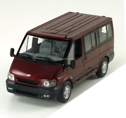 Ford Transit Bus Tourneo met.-dkl.-red Minichamps 1:43