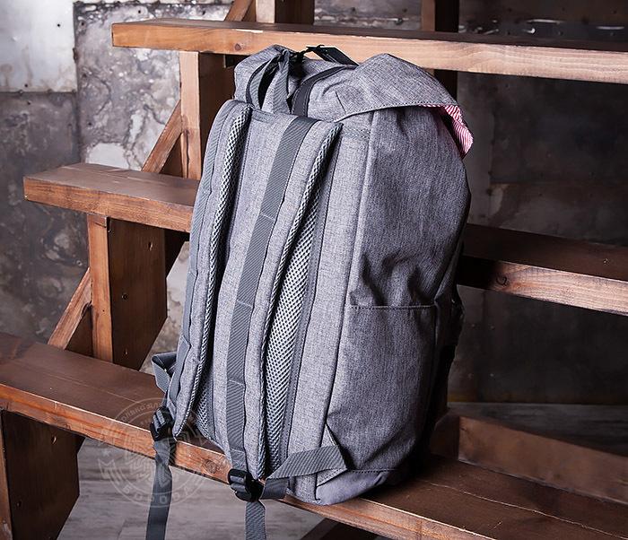 BAG404-3 Стильный мужской городской рюкзак из ткани серого цвета фото 06