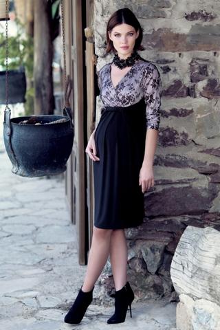 Платье для беременных 05536 черный/розовый