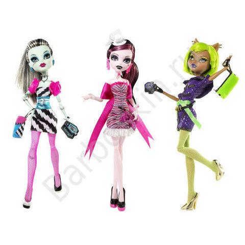 Игровой набор из 3 кукол Monster High Клодин Вульф, Дракулаура и Фрэнки Штейн - Рассвет Танца (Dawn of the Dance), Mattel