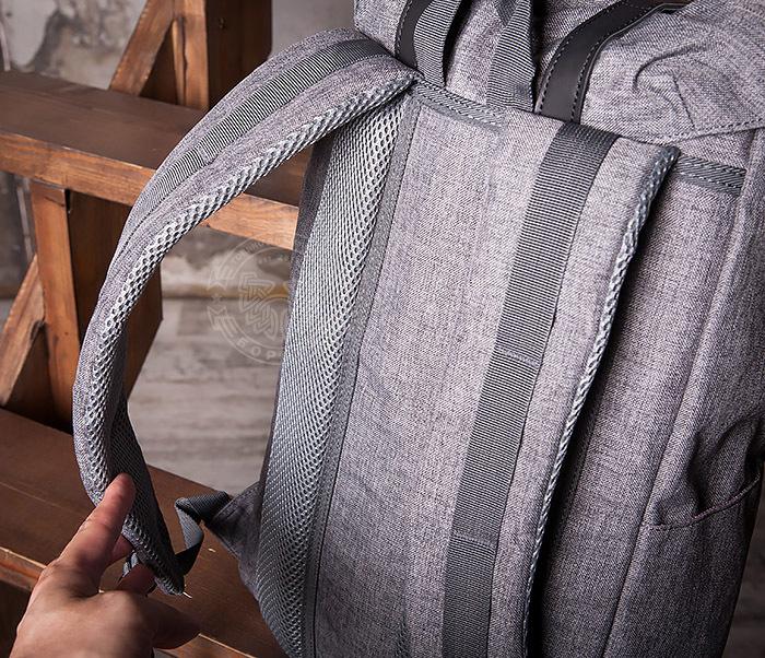 BAG404-3 Стильный мужской городской рюкзак из ткани серого цвета фото 07
