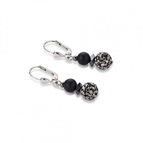 Серьги Coeur de Lion 4831/20-1300 цвет чёрный, серебряный, серый