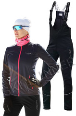 Детский утеплённый лыжный костюм Nordski Motion Blueberry-Pink-Black с высокой спинкой