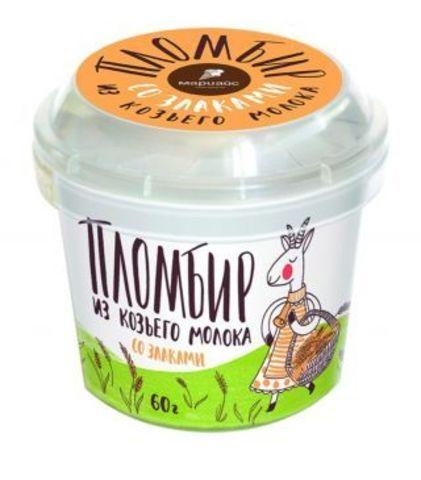 Мороженое пломбир из козьего молока с наполнителем злаки,МариАйс, 60г