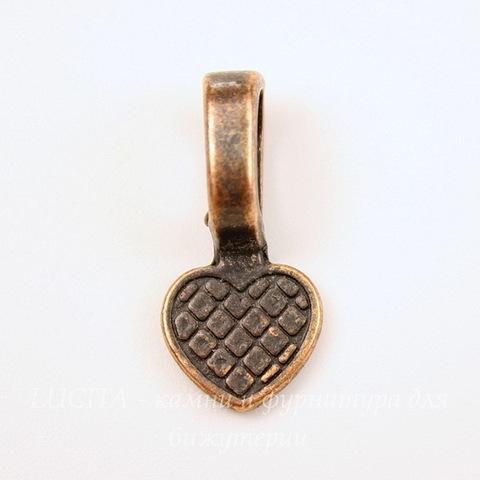 """Держатель для кулона с площадкой """"Сердце"""" 22х10 мм (цвет - античная медь)"""